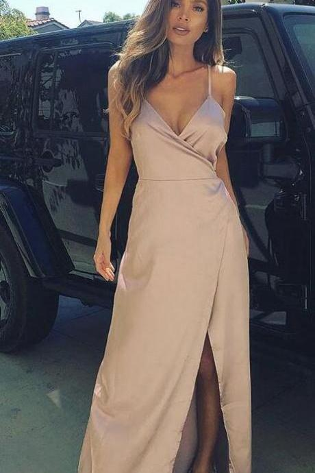Sexy V Neck Prom Dress,Simple Prom Dress,Ruched Slit Long Party Dress With Spaghetti Straps