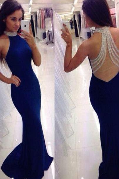 Custom Made Beading Mermaid Prom Dresses , Sexy Blue Satin Long Evening Gowns 2018,cheap Prom Dress