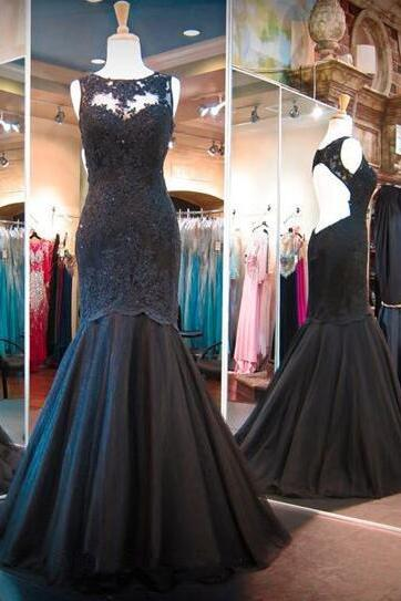 Sweetheart Scoop Neckline Prom Dress,Sexy Lining Black Mermaid Lace Appliques Tulle Long Prom Dress with Backless,Lace Prom Dress
