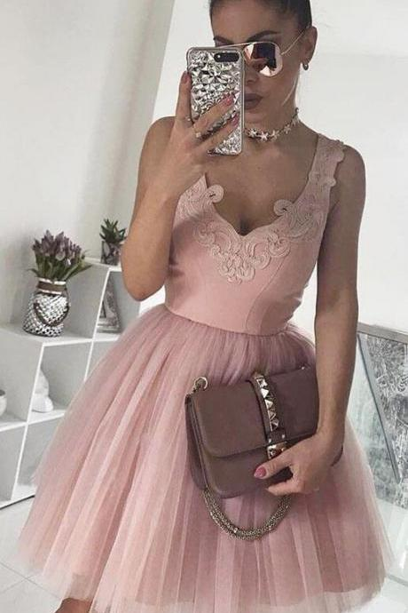 Cheap A-Line V-Neck Prom Dresses,Pink Homecoming Dress,Appliques Prom Dresses,Tulle Homecoming Dresses,Short Homecoming Dress