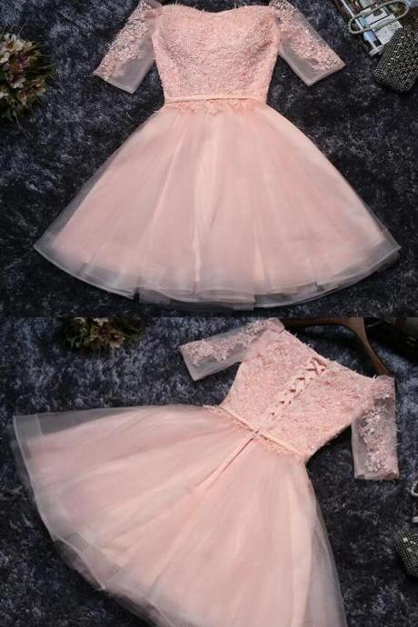 Cute Pink Homecoming Dresses,Cheap Appliques Prom Dresses,Tulle Half Sleeves Prom Dress,Short Prom Dress,Mini Party Dresses,Off-shoulder Homecoming Dress