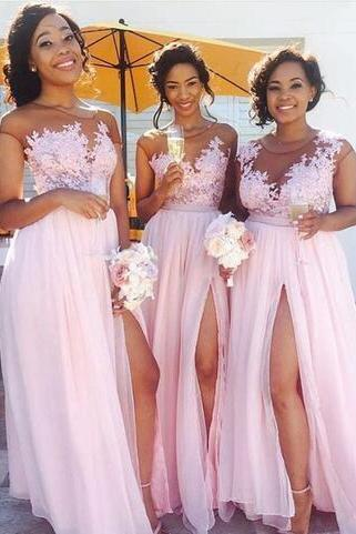 Appliqued Lace Bridesmaid Dresses,Sexy Pink Bridesmaid Dresses,Long Bridesmaid Dresses with Slit,Chiffon Bridesmaid Dresses,Bridesmaid Dress
