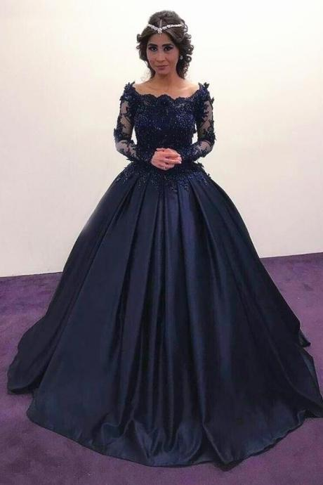 Navy Blue Prom Dresses,Ball gown Prom Dress,Cheap Lace Prom Dress,Long Sleeves Prom Dresses,Long Sleeves Engagement Dress,Vintage Wedding Dresses