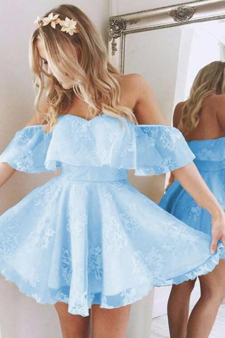 Short A Line Homecoming Dress,Cheap Prom Dress,Sweetheart Ruffles Shoulder Homecoming Dresses,Cute Lace Prom Dresses