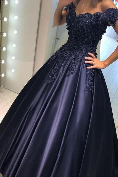 Sexy Lace Prom Dress,Stain Prom Dress,Long Charming Evening Dress,Ball Gown Prom Dress,Long Appliques Beaded Evening Gown