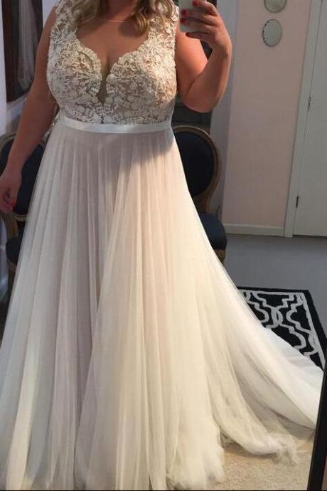 Simple Lace Prom Dress,Sexy Sleeveless Prom Dress,Cheap Wedding Dress,Long Evening Dress,Tulle Prom Dresses