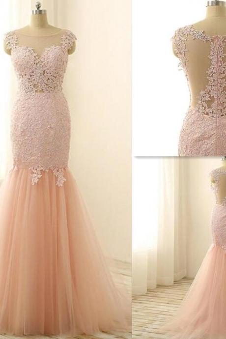 Tulle Lace Prom Dress,Cheap Mermaid Prom Dresses,Appliques Tulle Prom Dresses,Sexy Evening Dresses