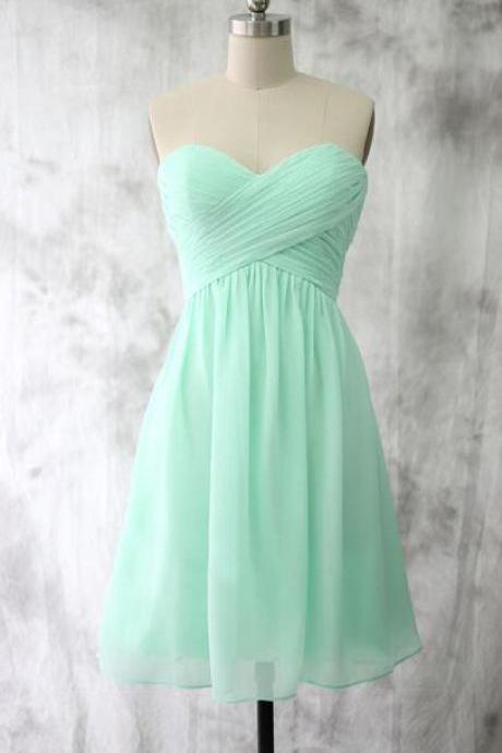 Cheap Short Bridesmaid Dress, Empire Sweetheart Bridesmaid Dress,Cheap Bridesmaid Dress, Mint Green Bridesmaid Dresses