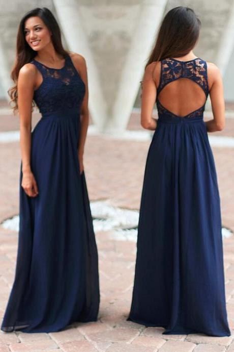 Navy Blue Prom Dress,Long Chiffon Bridesmaid Dress,cheap Bridesmaid Dress, Maxi Dress Bridesmaid Dres with Open Back