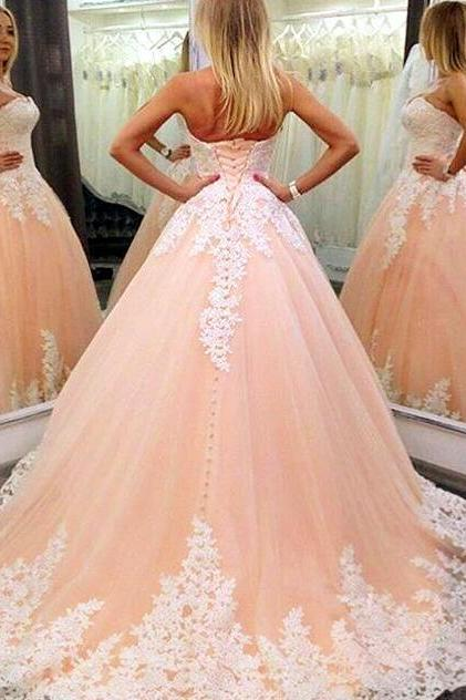 Strapless Nude Ball Gown Wedding Dress , Lace Wedding Dress, Cheap Wedding Dress,Mermaid Prom Dress