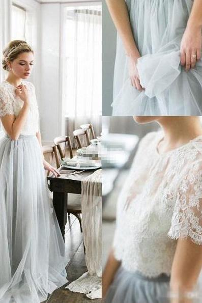 Custom Lace Wedding Dress, Tulle Two Pieces Prom Dresses, Cheap Wedding dresses,Bridal Gown