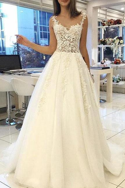 White Lace Wedding Dress,Sweetheart Wedding Dress,Long Prom Dress,Straps Evening Dress,Tulle Long Evening Gowns