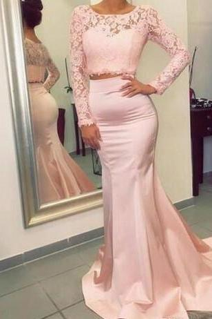 Gorgeous Long Sleeves Prom Dress,Lace PromDress,Two Pieces Prom Dresses 2018 ,New Hot Mermaid Evening Gowns with Appliques Stretchy Long Train Party Wear Gowns