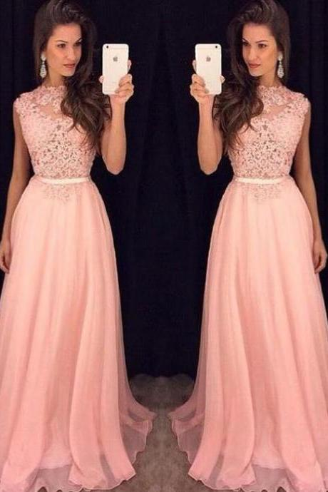 Lace Prom dress ,A Line Prom Dress,Long Prom Dress,Chiffon Prom Dress,Sexy Evening Dress,Cheap PromDress