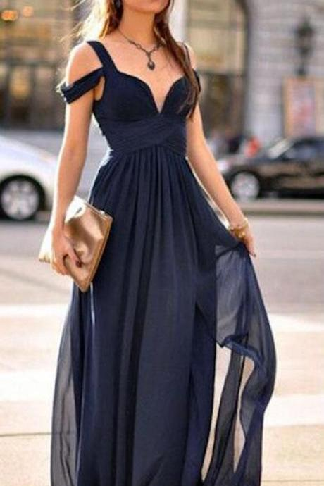 Chiffon Off-The-Shoulder Sweetheart Floor Length A-Line Prom Dress