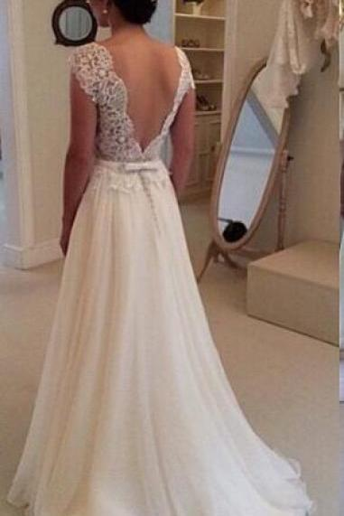 Custom Made Beach Wedding Dress, A Line Backless Lace Wedding Dresses, Dresses For Wedding, Wedding Gowns, Chiffon Wedding Dress