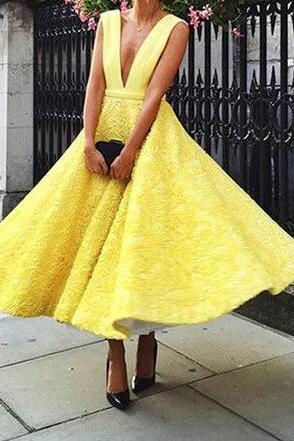 Yellow Lace Prom Dress, Sexy prom Dress,Deep V-Neck Evening Dress,Cheap Prom Dress,Short Prom Dress,Sleeveless Party Gown,Ankle Length Prom Dress,High Quality