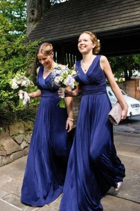 Chiffon Bridesmaid Dress,Cheap Bridesmaid Dress,elegant dark blue bridesmaid dress with pleats, fashion v-neck wedding party dress with ruched