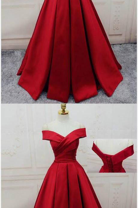 Gorgeous Red Stain prom Dress,A Line Prom Dress,Sexy prom Dress,Off Shoulder Prom Dress,Long Evening Dress,Lace up Prom Dress,2018 Prom Dress