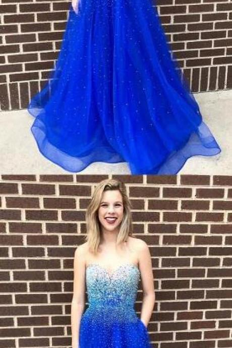 Sweetheart Floor-Length Prom Dress,A-Line Prom Dress,Beading prom Dress,Royal Blue Prom Dress with Beading Pockets