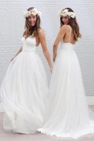 Simple V-neck Wedding Dress,Simple Wedding Dress,Chiffon Wedding Dress,Floor-Length Wedding Dress With Ruched Sash