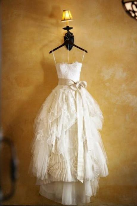 Ivory Floor Length Wedding Dress,Vintage Lace Wedding Dresses Gowns, Custom Sweetheart Wedding Dress,Bridal Dresses Gowns