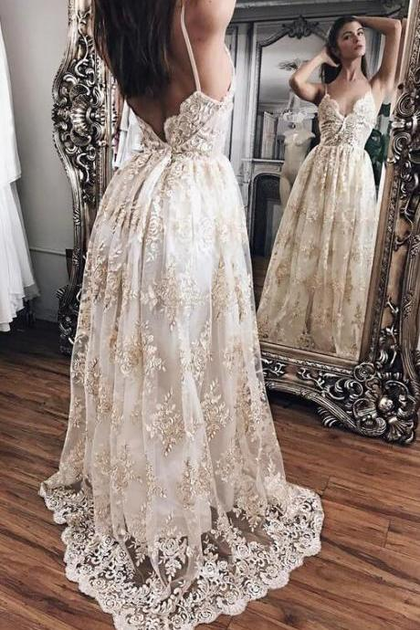 Champagne Princess Prom Dresses,Sexy Prom Dress,Lace With White Prom Dresses,Long Prom Dress,Lace Prom Dresses,Evening Gowns,Women Dresses,Backless Prom Dresses,Lace Prom Dresses,V-neck Prom Dress