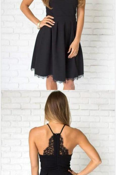 Cute Straps Black Homecoming Dress,Short Prom Dress,Chiffon Homecoming Dress,Lace Party Dress