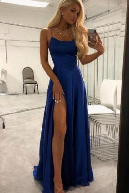 Sexy Prom Dresses, Cheap Prom Dress,Blue Split Slit Prom Dress, Long Evening Dress, Simple Prom Gowns
