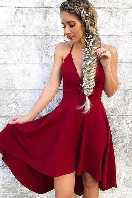 Spaghetti Straps High-Low Prom Dress,V Neck Prom Dress,Short Wine Homecoming Dress