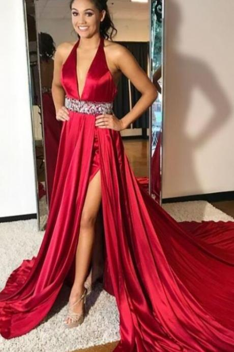 Long Side Slit V Neck Evening Dresses ,Red Satin Prom Dresses ,Sexy Backless Formal Gowns Party Dress with Beaded Waist for Women