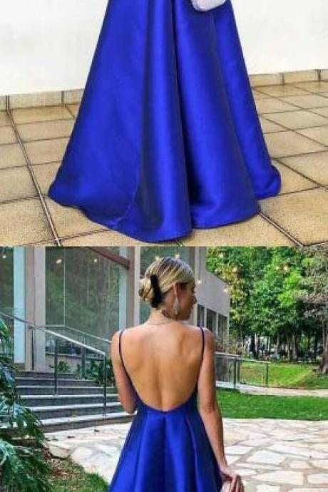 Spaghetti Straps Floor Length Royal Blue Prom Dress,Simple Prom Dress,Cheap Prom Dress,Satin Prom Dress