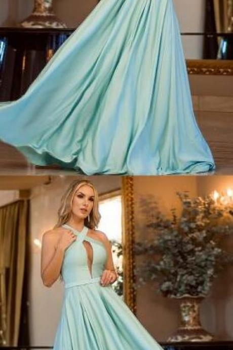 A-Line Prom Dresses,Cheap Prom Dress,Cross Neck Floor-Length Mint Prom Dress,Satin Prom Evening Dress with Keyhole