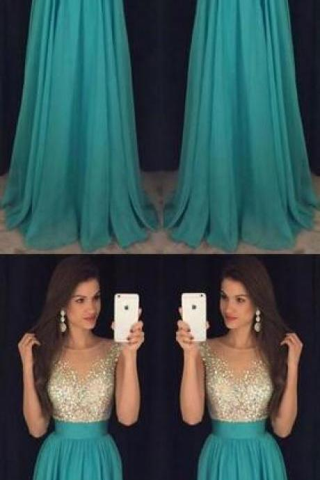 Floor-Length Scoop Prom Dress,Chiffon Elegant Prom Dress ,Sexy Prom Dress