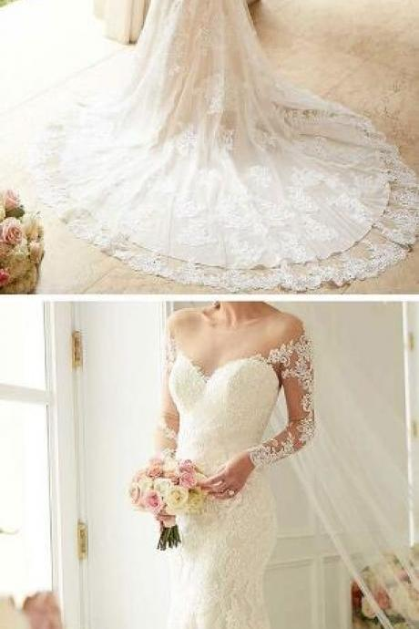Charming Wedding Dress, Lace Wedding Dress,Sexy See Though Back Appliques Mermaid Wedding Dresses, Bridal Dresses