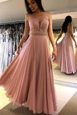 Long Prom Dress 2019 ,V-Neck Prom Dresses,Beaded Prom Dress,Prom Dresses,Prom Dress with Beaded
