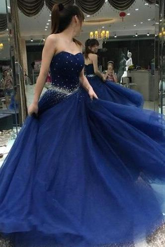 Tulle Prom Dresss,Ball Gown Prom Dresses,Sexy Prom Dress,Sweetheart Tulle Floor-length Beading Lace-up Prom Dresses