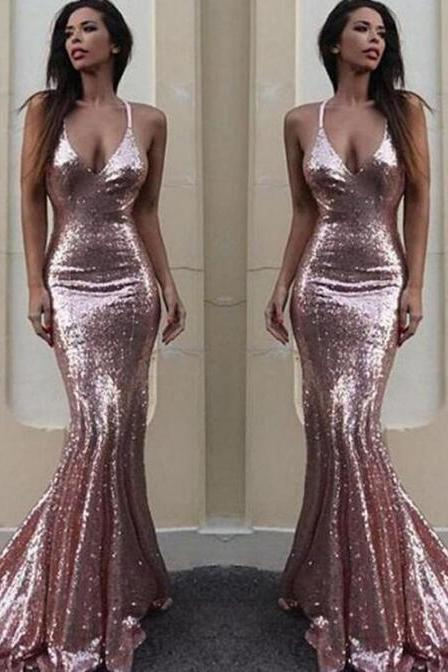 Rose Gold Sequin Prom Dress,Mermaid Evening Prom Dresses, Sexy Backless Prom Dress,Custom Long Prom Dresses, Cheap Formal Prom Dresses