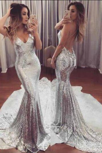 Silver Sequined Prom Dress, Mermaid Prom Dress,Backless Prom Dresses,Sexy Prom Dress,Prom Dresses