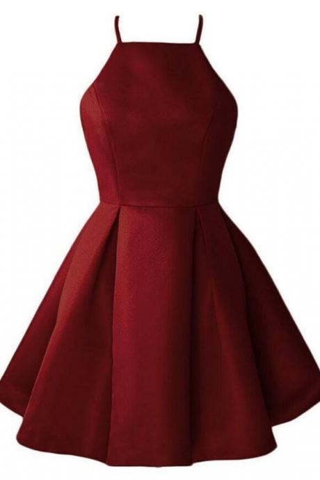 Burgundy Cute Prom Dress,Short Halter Satin Party Dresses, Short Prom Dresses , Wine Red Homecoming Dresses