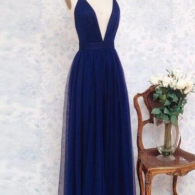 Charming Deep V Neck Sleeveless Tulle Prom Dresses,Simple Evening Dress, Navy Blue Prom Dresses, Backless Prom Dress,Party dress