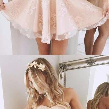 Off-the-Shoulder Short Pearl Pink Lace Homecoming Dress,Party Dress,A-Line Evening Dress, Sexy Cute Pink Homecoming Dresses