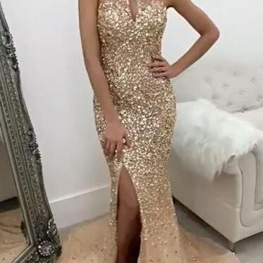Sexy Halter Prom Dress,beading prom Dress,Crystal Beaded Prom Dress,Mermaid Evening Gowns,Mermaid Prom Dresses