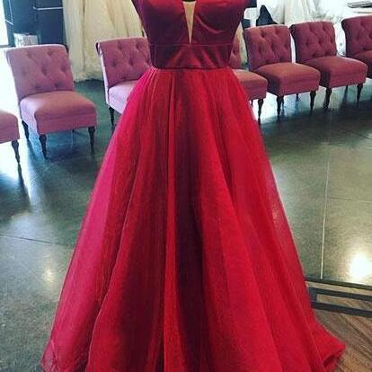 Burgundy Prom Dresses,Sexy Prom Dress,New Prom Gown,Vintage Prom Gowns, A Line Prom Dress,v neck long prom dress, burgundy evening dress