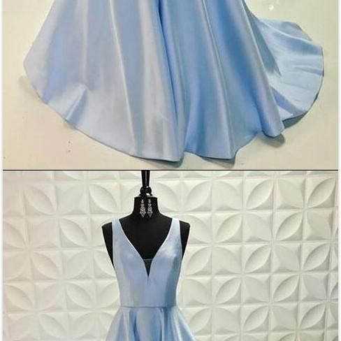 Simple Vintage Prom Gowns,Stain Prom Dress,Cheap Prom Dress,Sexy Prom Dress,Light blue v neck long prom dress, blue evening dress