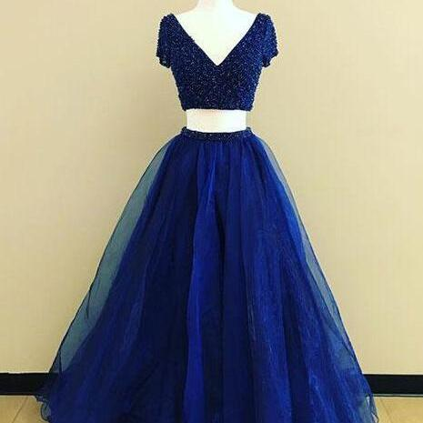 intage Prom Gowns,royal Blue Prom Dress,Cheap Prom Dress,two pieces long prom dress, Simple Prom Dresses,New Prom Gown,Vblue evening dress