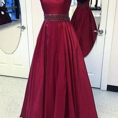 Burgundy Prom Dress,Stain Prom Dress,Sexy Prom Gown,round neck long prom dress, burgundy evening dress